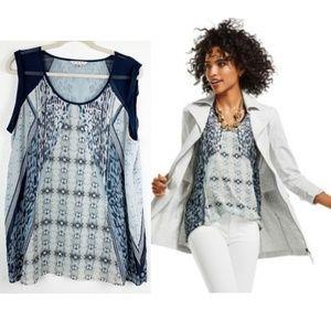 CABI Blue & Gray Mix Print Sleeveless Blouse XL